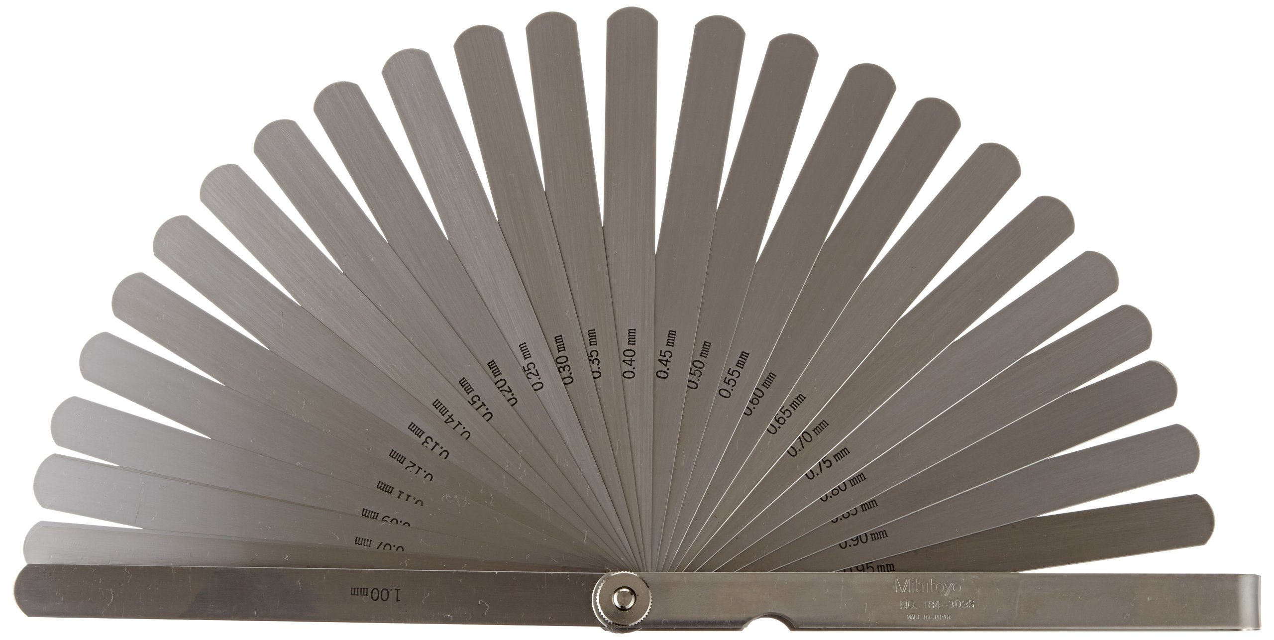 Mitutoyo 184-303S, Thickness Gage / Feeler Gage, 0.05mm to 1mm, 28 Leaves, Straight, 150mm Long Leaves
