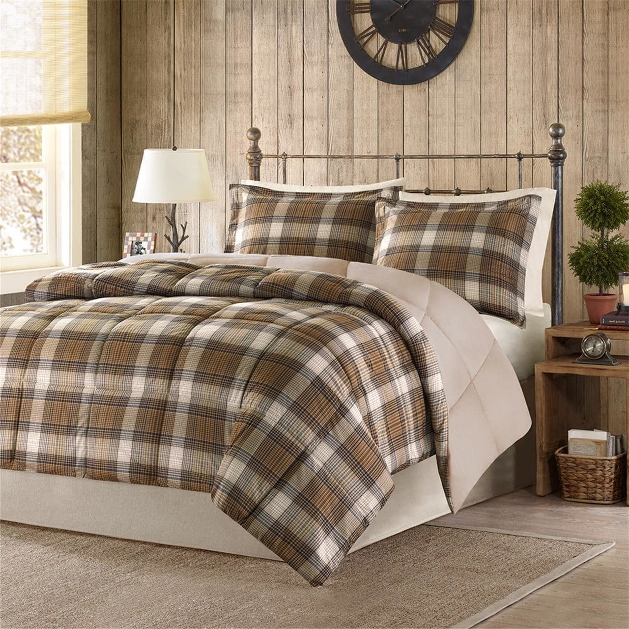 3 Piece Brown Lumberjack Plaid Pattern Comforter Full Queen Set, Elegant Luxurious Classic Cabin Lodge Gingham Checkered Design, Features Down Alternative Filling, Super Soft & Warmth, Polyester