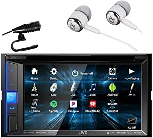"""JVC KW-V25BT 6 .2"""" Touchscreen Double DIN in-Dash Bluetooth CD/DVD AM/FM Digital Media, Front and Rear USB Input,Pandora,Spotify and iHeartRadio Control Car Stereo Receiver with ALPHASONIK Earbuds"""