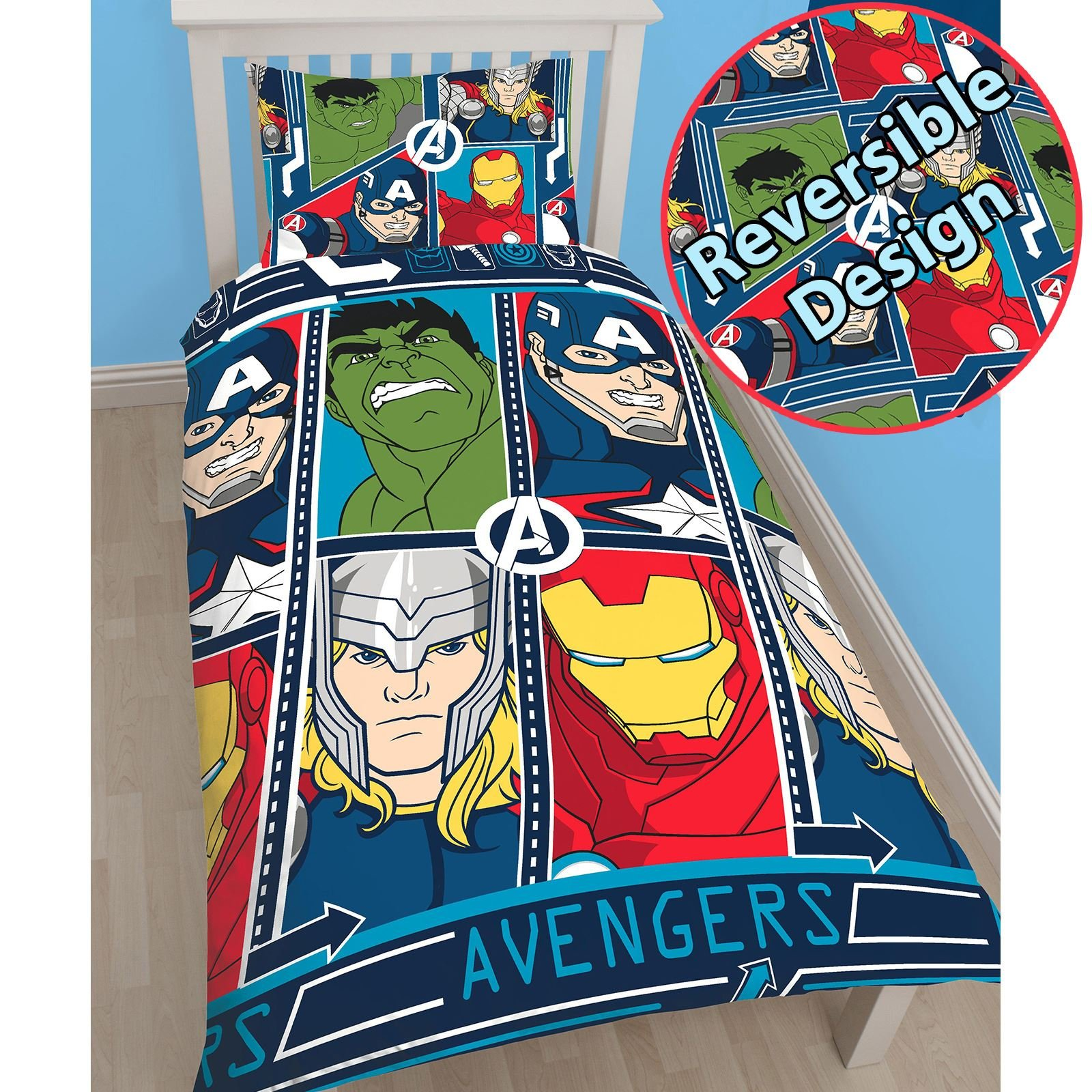 T&A Textiles and Hosiery Ltd Marvel Avengers Tech UK Single/US Twin Reversible Duvet Cover Set