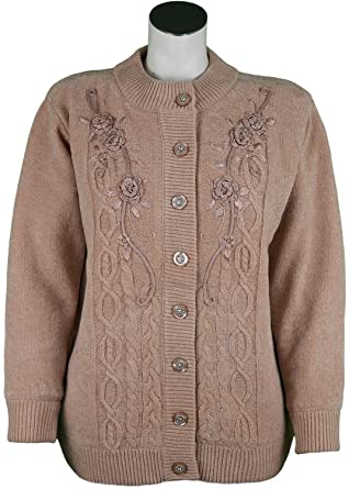 1efad8260d Womens Cardigans Knitted With Floral Embroidery Chunky Cable Designer Button  Cardigan Crew Neck  Amazon.co.uk  Clothing