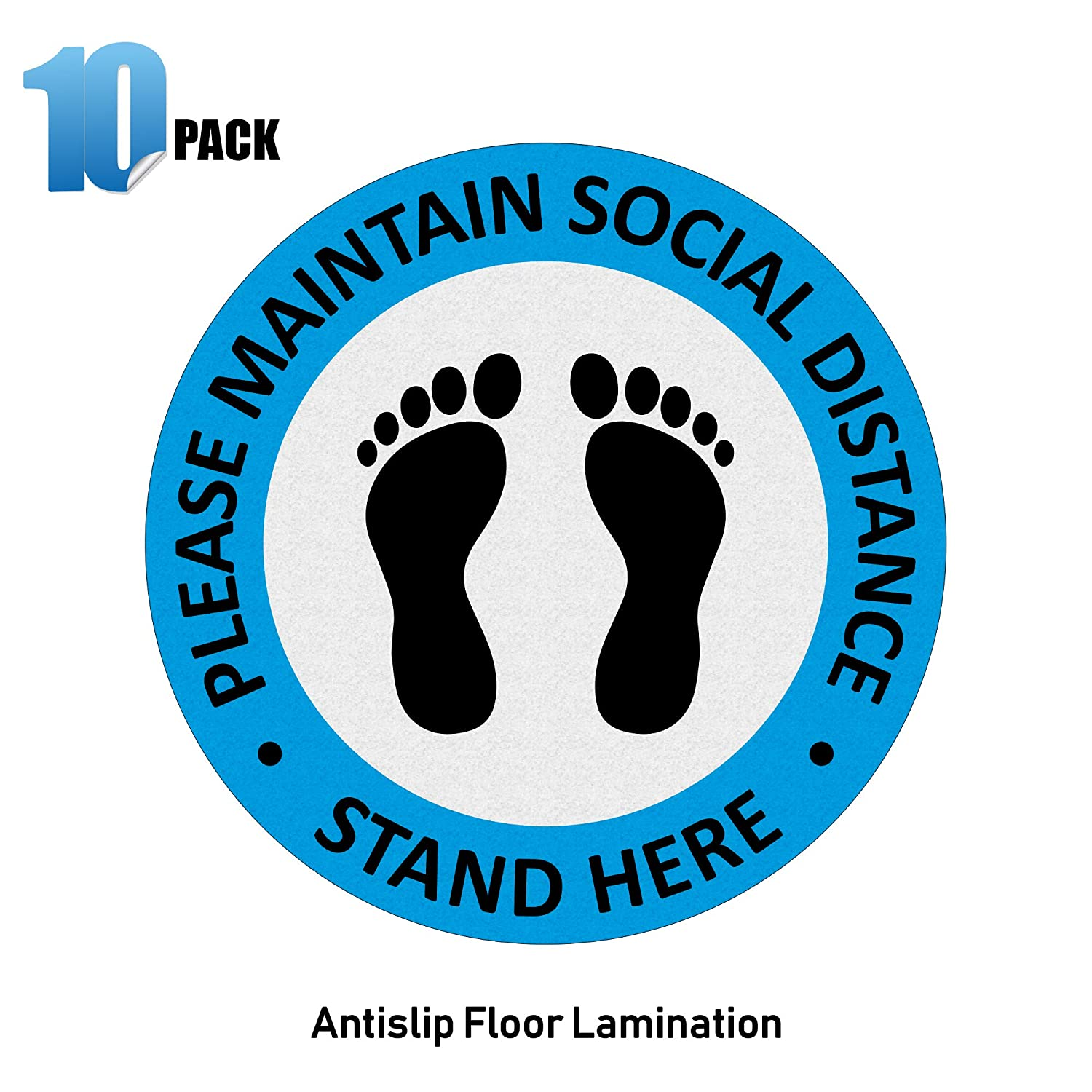 Anti-Slip Floor Over Lamination Decals for 6 feet Distance 7.5 Inch Diameter Round Pack of 10 Stand Here Maintain Physical Distance Floor Stickers IGNIXIA Social Distancing Floor Signs Blue