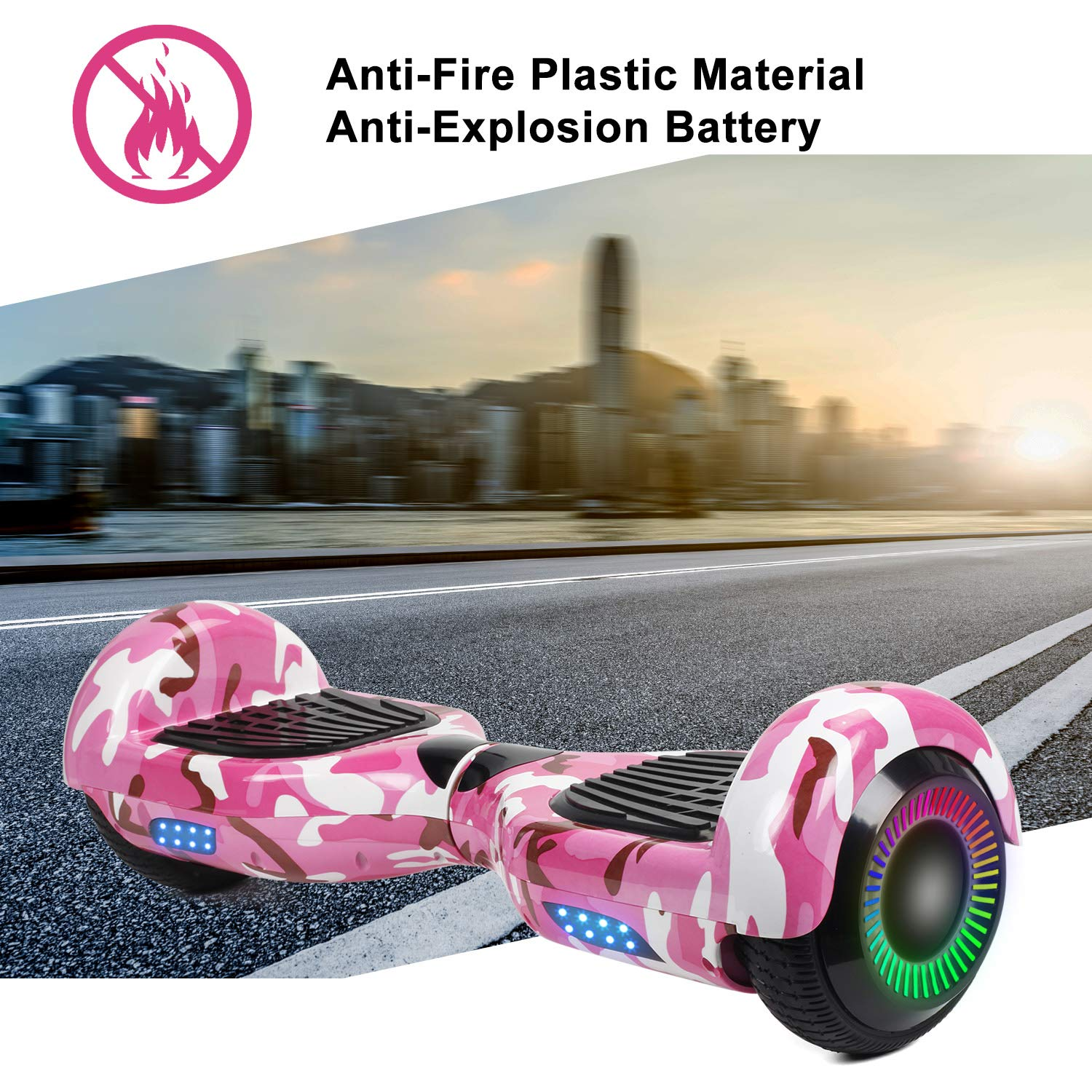 SISIGAD Hoverboard Self Balancing Scooter 6.5'' Two-Wheel Self Balancing Hoverboard with LED Lights Electric Scooter for Adult Kids Gift UL 2272 Certified Fun Edition - Pink Camou by SISIGAD (Image #5)