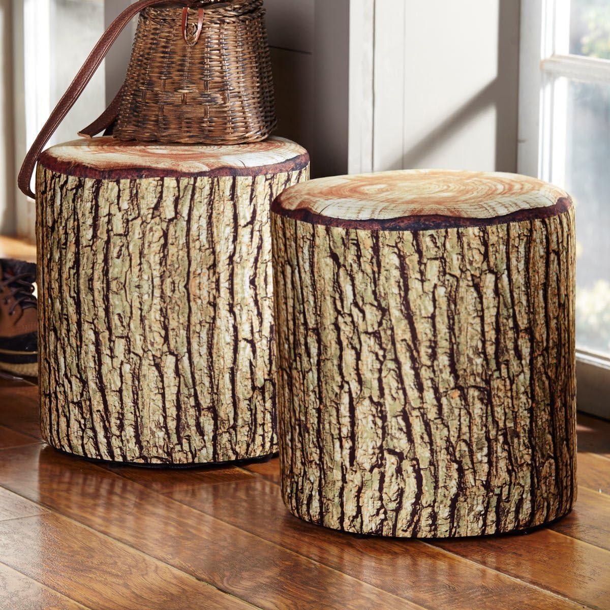 Black Forest D cor Cushioned Tree Bark Log Seat