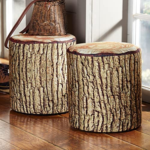 BLACK FOREST DECOR Cushioned Tree Bark Log Seat