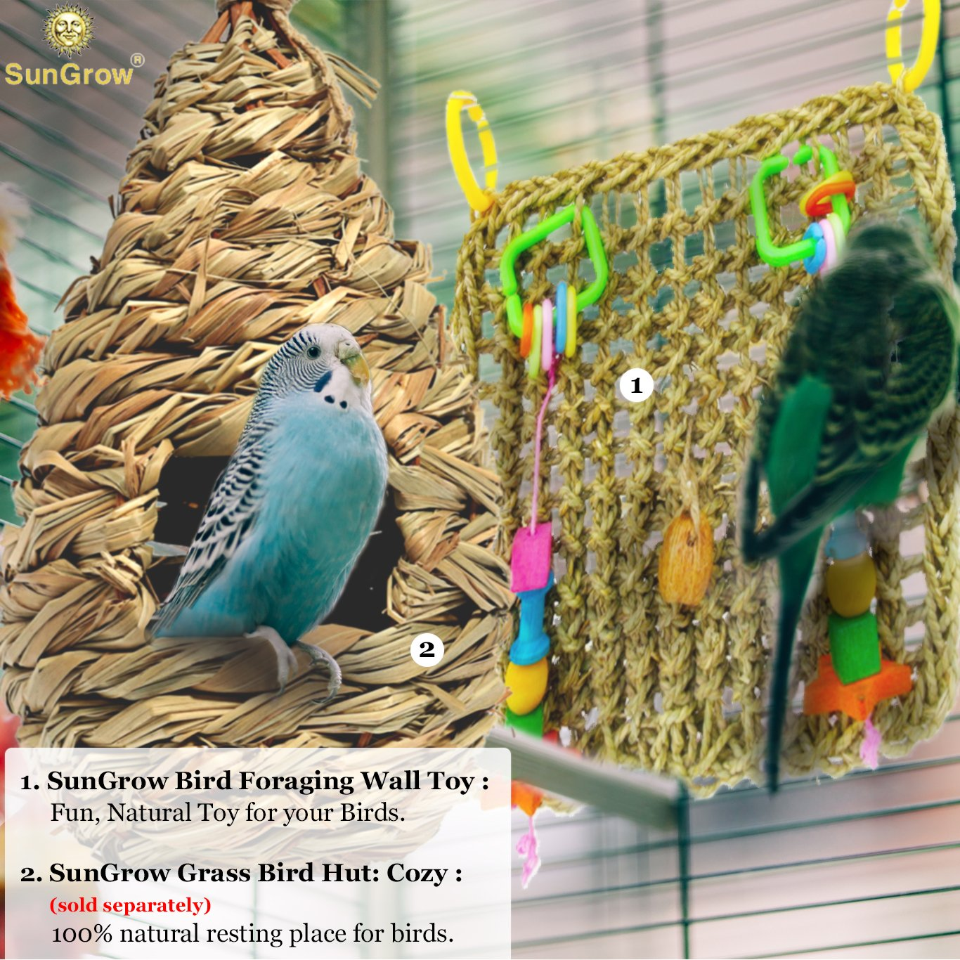 Bird Foraging Wall Toy with Hanging hook --- Seagrass Woven Mat Safe to Chew - For Beak exercise and IQ simulation of Small & Medium Bird - Tuck treats in waffle ball or pod cups - Long Lasting