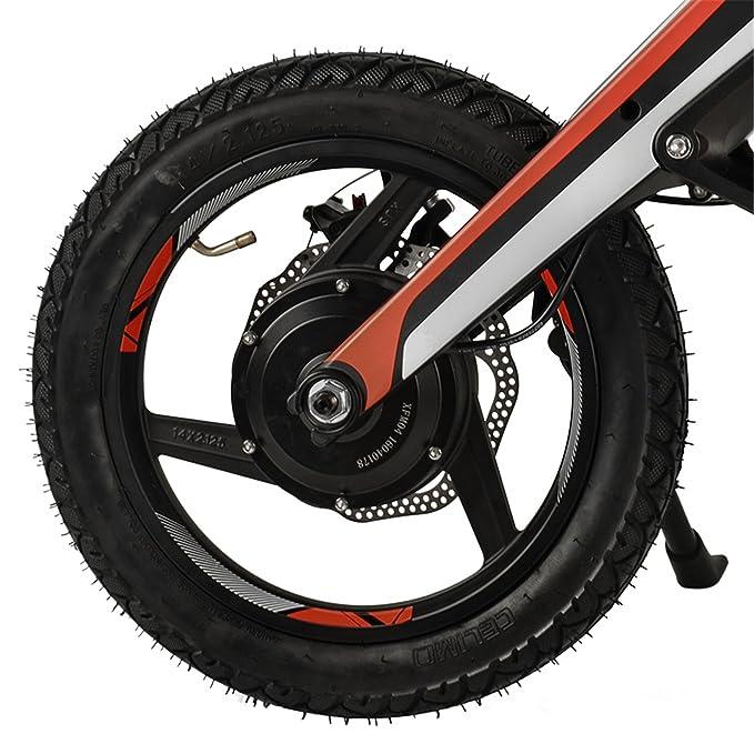 Bici eléctrica portátil de 14 pulgadas, con Bluetooth y USB, motor de 300W. 15 ° Escalada. Batería de iones de litio de 48V 7AH, plegado rápido y carga ...