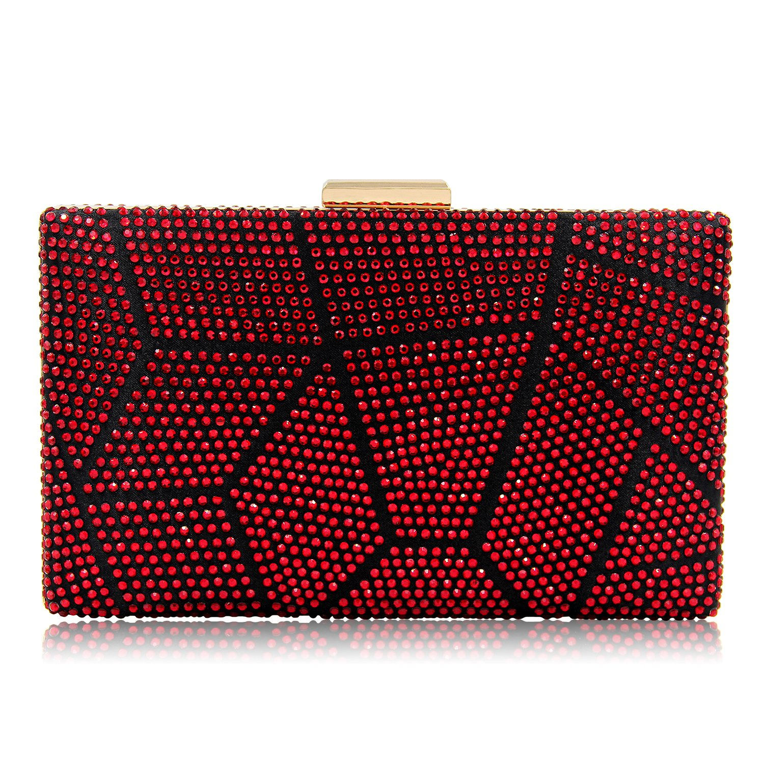 Women Clutches Crystal Evening Bags Clutch Purse Party Wedding Handbags (Red)