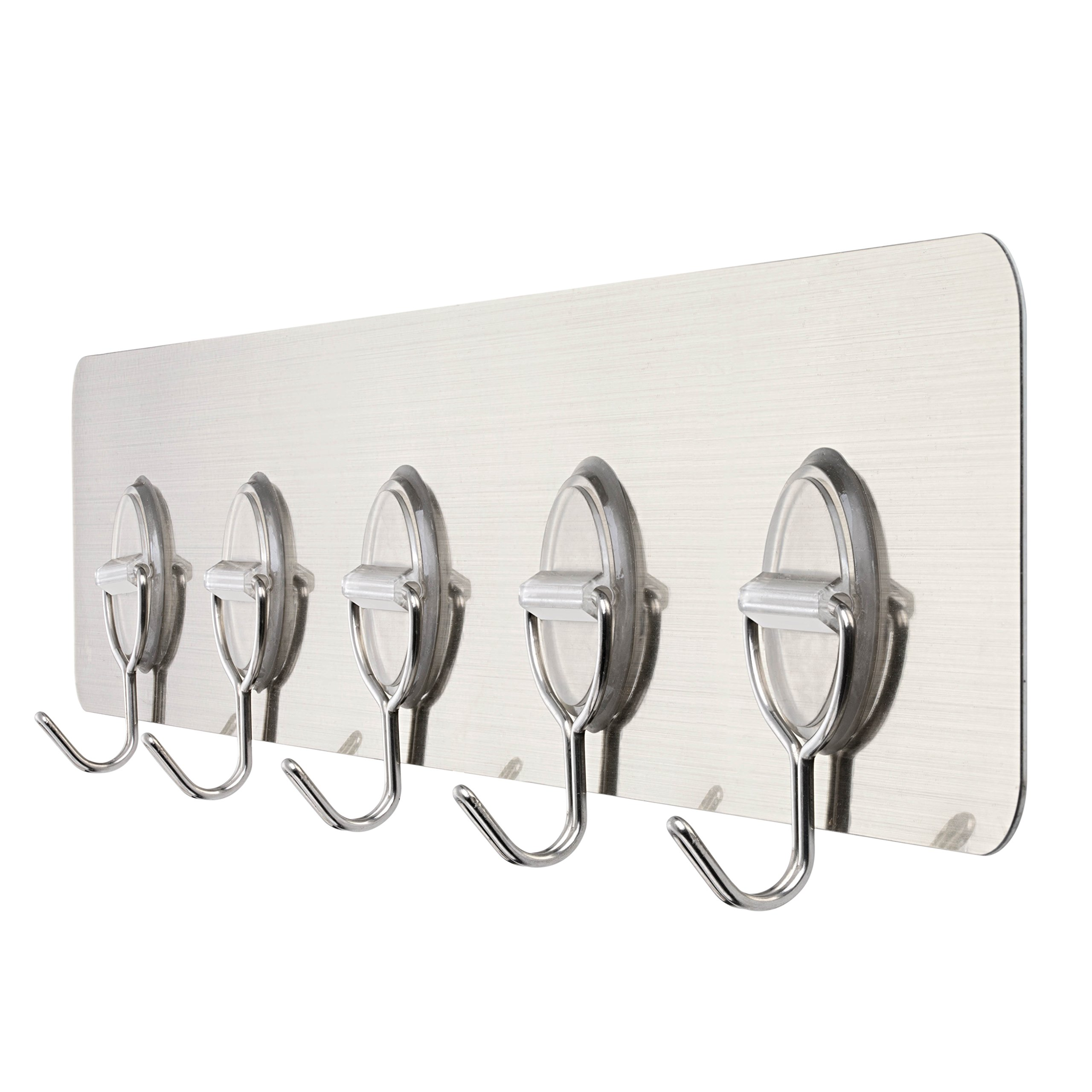 PROLOSO Traceless Reusable Adhesive 5-Hook Rack Sticky Wall Hook Rail Gold for Office Home Kitchen Bathroom