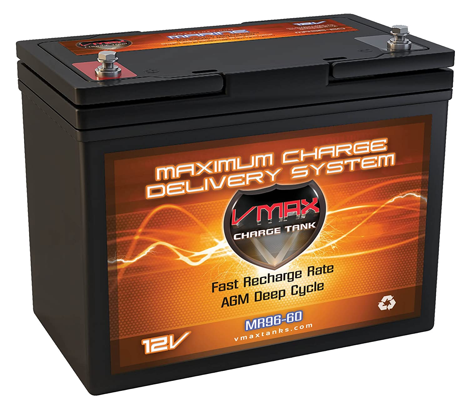 VMAX MR96-60 AGM 12V 60AH AGM Battery Deep Cycle High Performance Battery for 24-50lb thrust Minn Kota, Cobra, Sevylor and other electric trolling motors (Group 22NF, UPGRADES ANY 55AH 22NF BATTERY) VMAXTANKS MR96-1200