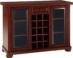 Crosley Furniture Alexandria Sliding Top Bar Cabinet, Vintage Mahogany