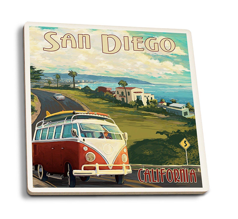 San Diego, CaliforniaVW Van Cruise (Set of 4 Ceramic CoastersCork-backed, Absorbent) by Lantern Press B01FOLTUKU 4 Coaster Set
