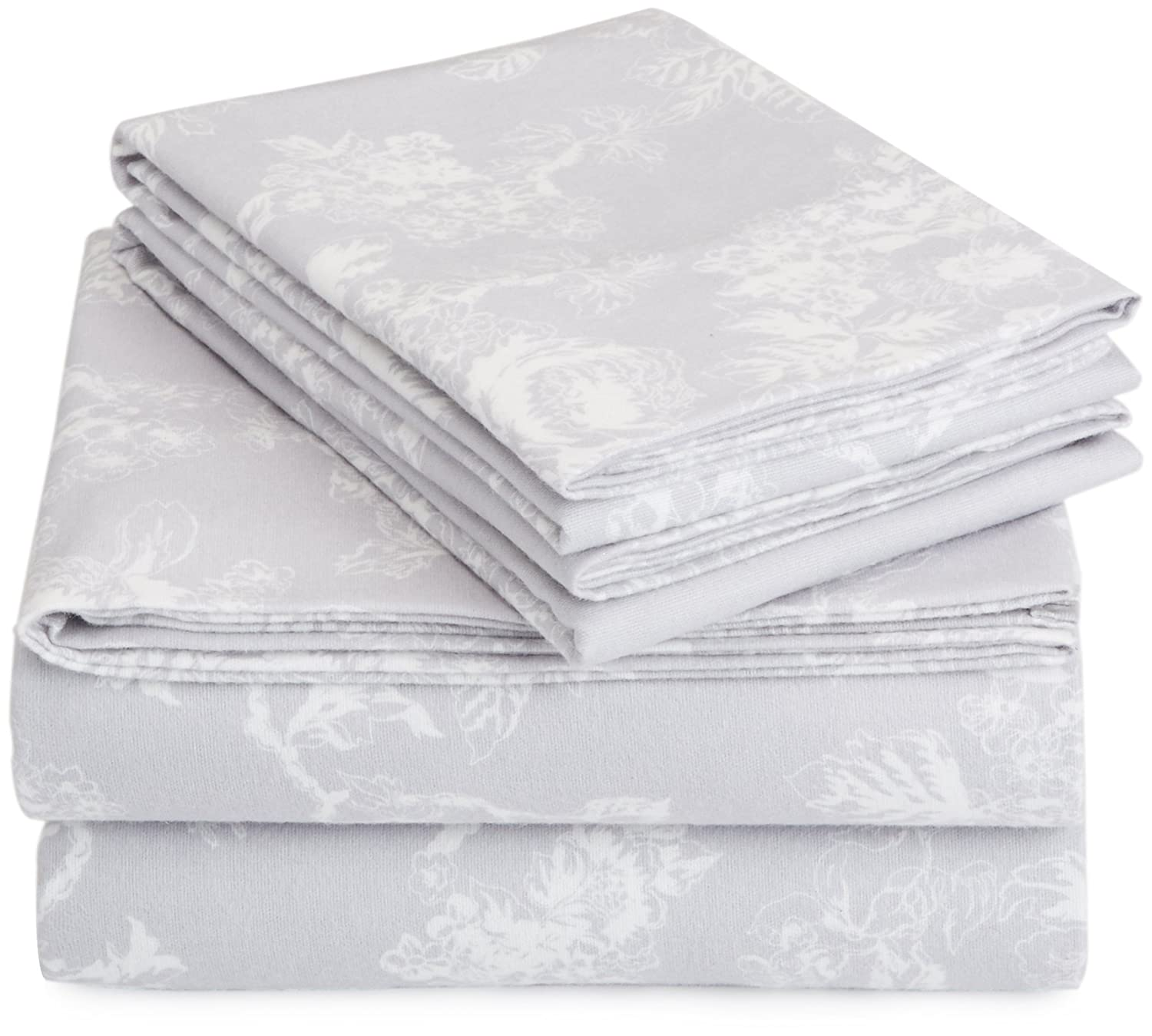 AmazonBasics Printed Lightweight Flannel Sheet Set - Queen, Floral Grey