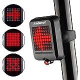 Redlemon Luz de Bicicleta Trasera Inteligente, Freno y Direccionales Automáticas, Láser de Carril, Resistente al Agua, 64 Led