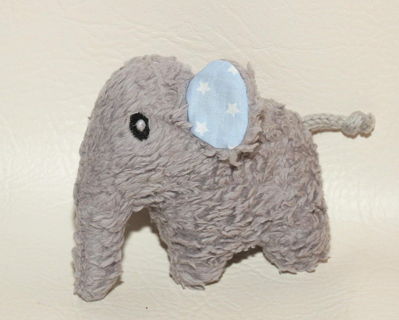 Kuscheltier Elefant blau personalisierbar mit Namen, Rassel, Bio Teddy Plüsch Baumwolle