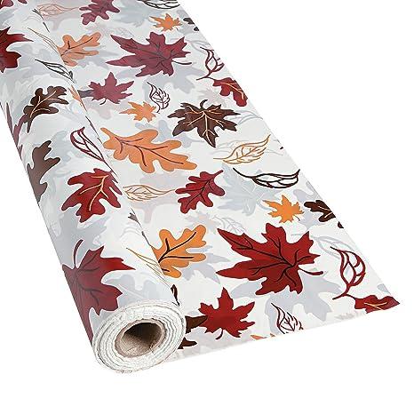 Attirant Plastic Fall Leaves Tablecloth Roll   Halloween/Thanksgiving/