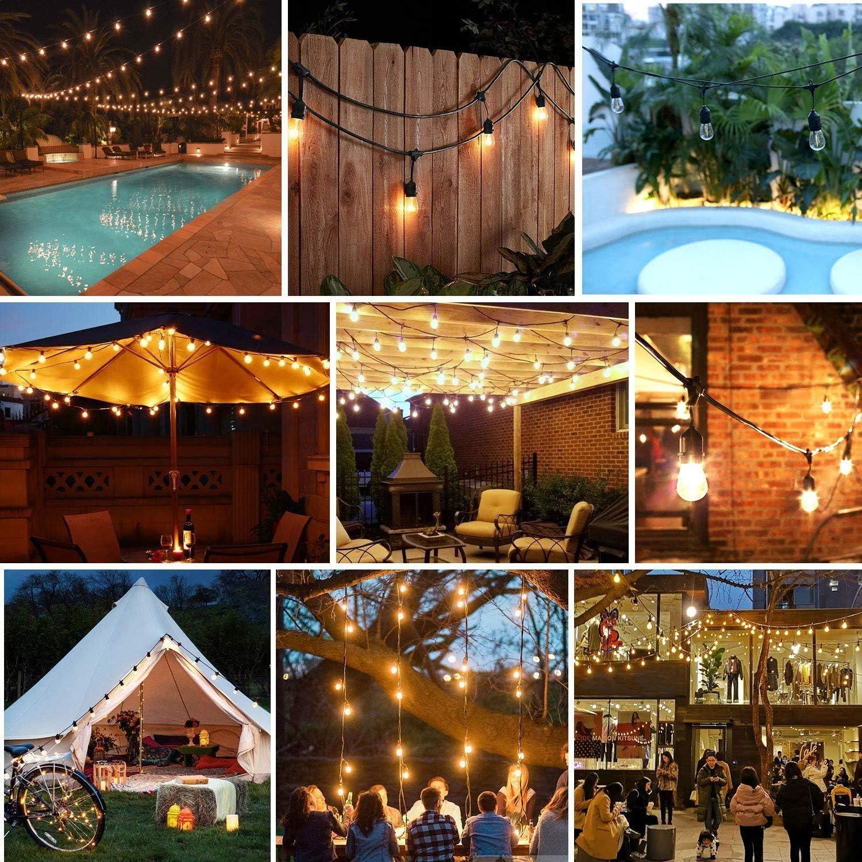 IP65 Waterproof Outside String Light for Garden Balcony Party LED Outdoor String Lights AVANLO 49ft Festoon Lights Outdoor Patio Cafe Lights 2w E27 Bulbs