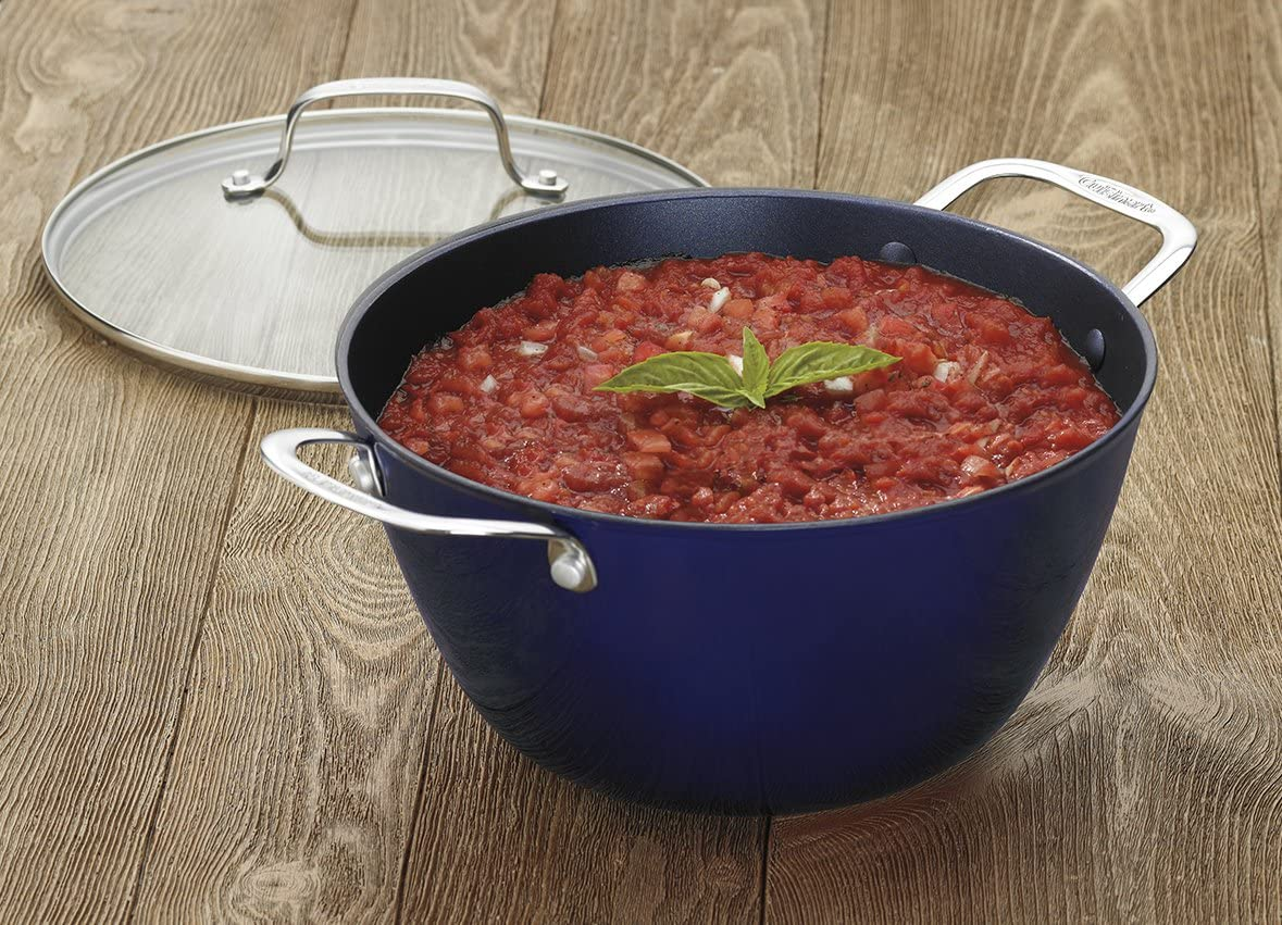 Blue on Blue 4.5-Quart Cuisinart CIL345-30BB CastLite Non-Stick Cast Iron Chefs Pan with helper and Cover