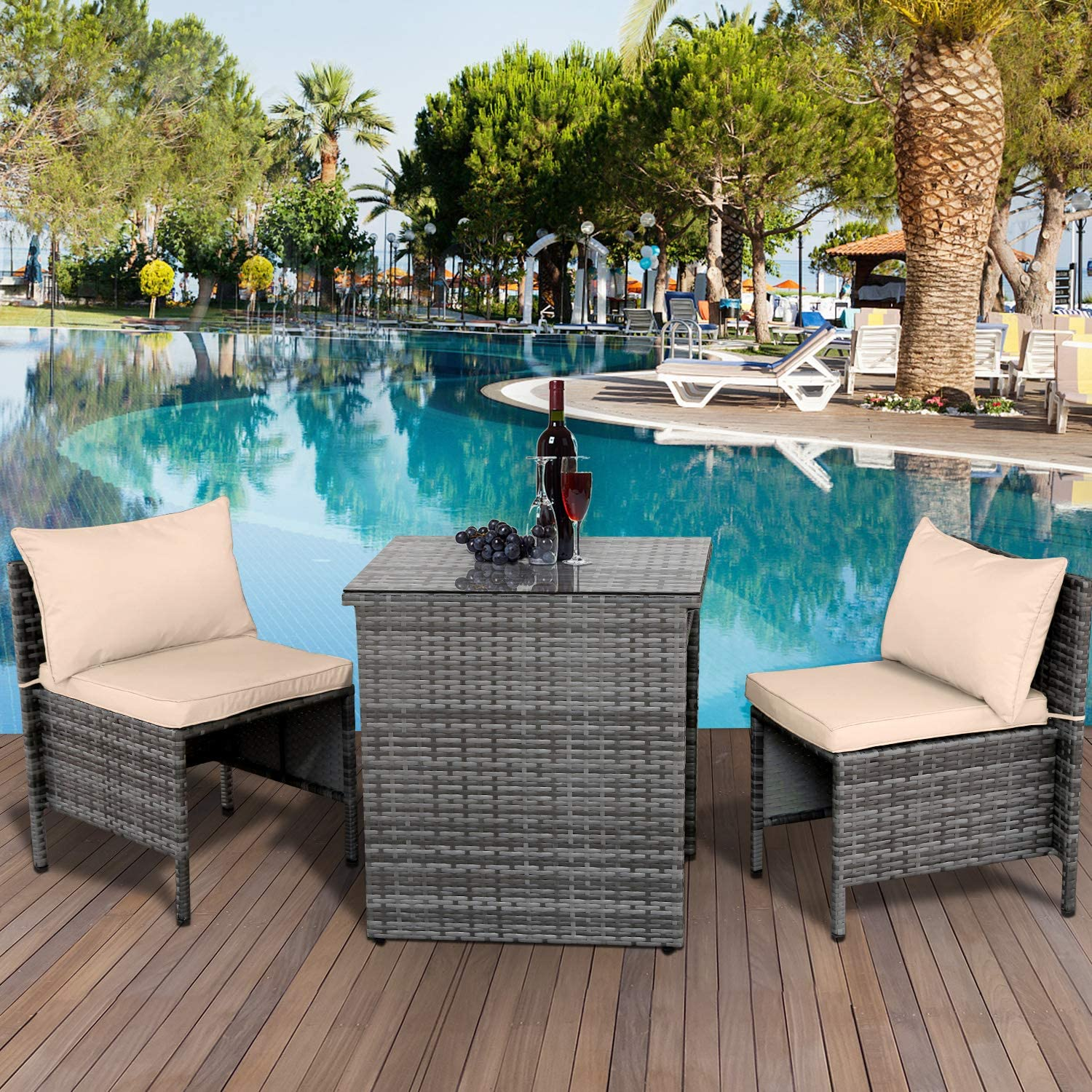 Valita 3 Piece Outdoor PE Rattan Furniture Bistro Table And Chairs Set