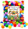 Caydo 300 Pieces 1 Inch Assorted Pompoms Multicolor Arts and Crafts Pom Poms Balls for DIY Art Creative Crafts Decorations