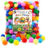 Caydo 300 Pieces 1 Inch Assorted Pompoms Multicolor Arts and Crafts Pom Poms Balls for DIY Art Creative Crafts…