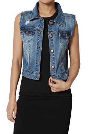 5d6b8135b7ec6 TheMogan Women s Distressed Trucker Denim Vest Sleeveless Jean Jacket  Medium S