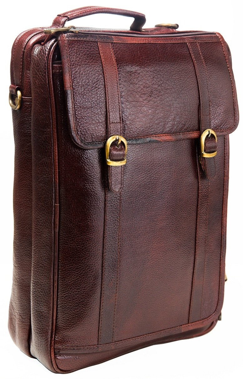 Urban Leather 16 Inch 3-in-1 Full Grain Handmade Dark Tan Bagpack-Handbag-Sling Laptop Ipad Leather Bag