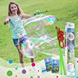 WOWMAZING Giant Bubble Wands Kit: (4-Piece Set) | Incl. Wand, Big Bubble Concentrate and Tips & Trick Booklet | Outdoor Toy f