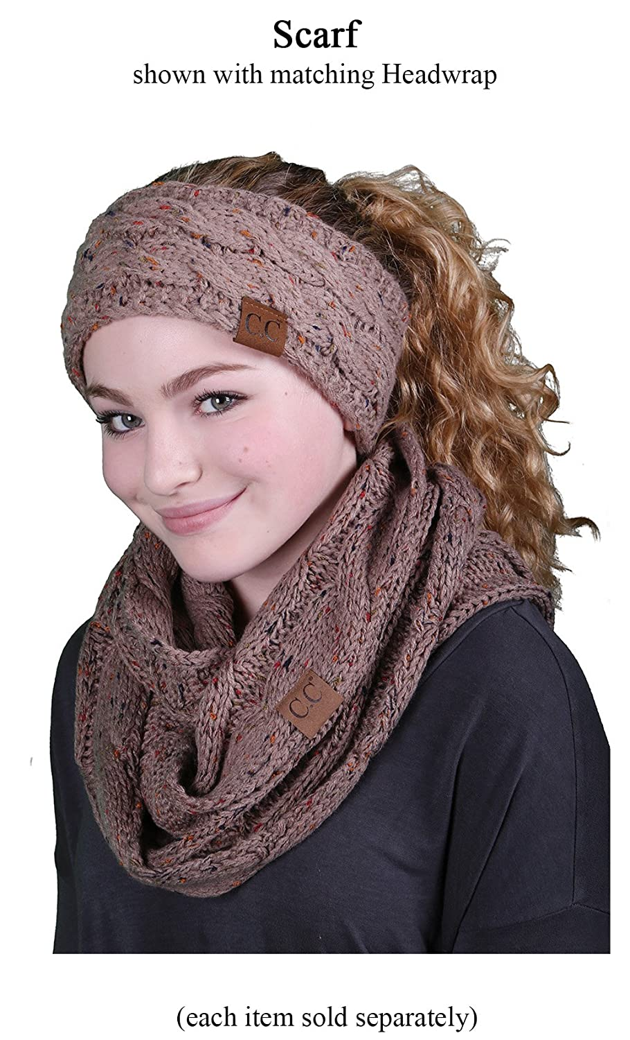 1b0c9703a Funky Junque's Beanies Matching Ribbed Winter Warm Cable Knit Infinity Scarf  1 Solid Black 2 PACK ...