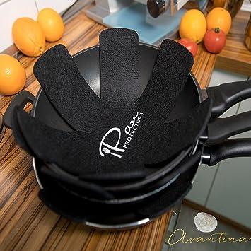Avantina Protector de Olla y Sartén - 6Pcs - Ideal para apilar sartenes y ollas - 40 x 40 cm - protección extra de revestimiento mediante 0,4 cm Fieltro: ...