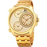 Joshua & Sons Men's Quartz Stainless Steel Casual Watch, Color:Gold-Toned (Model: JX128YG)