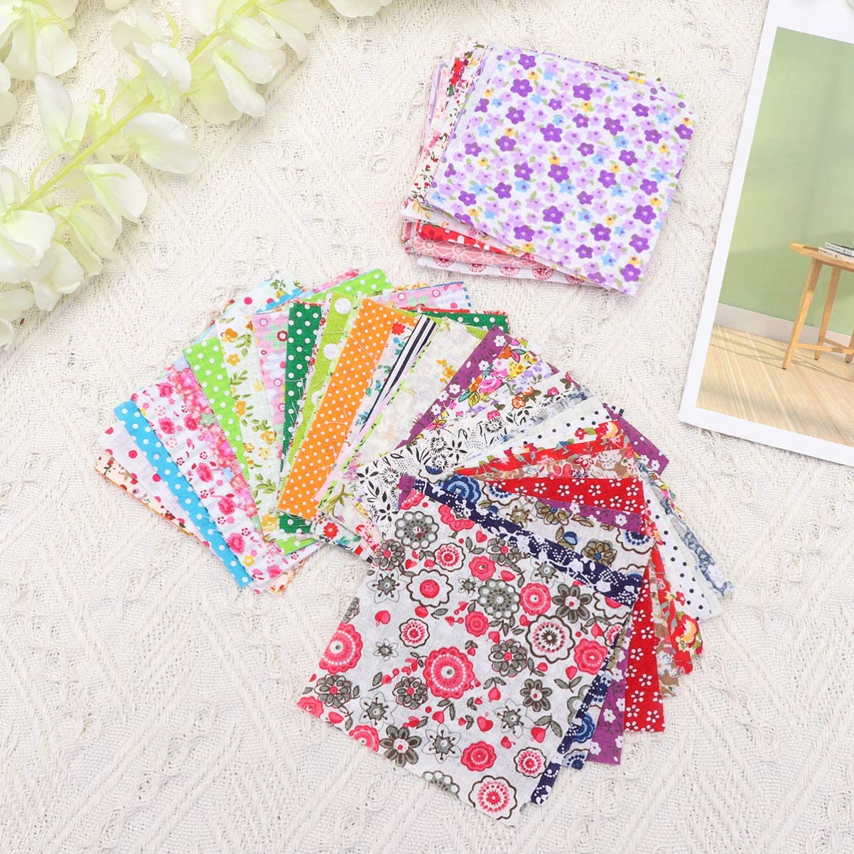 Random Pattern Healifty 100PCS Patchwork Fabric Cotton DIY 10x10cm Printed Fabric Material for Sewing Scrapbooking Quilting Craft