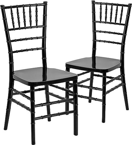 Flash Furniture 2 Pack HERCULES PREMIUM Series Black Resin Stacking Chiavari Chair