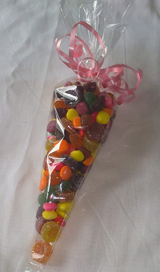 Sweet Cone Bags and Ties with Curling Ribbon Clear Cellophane Cone Party Bags