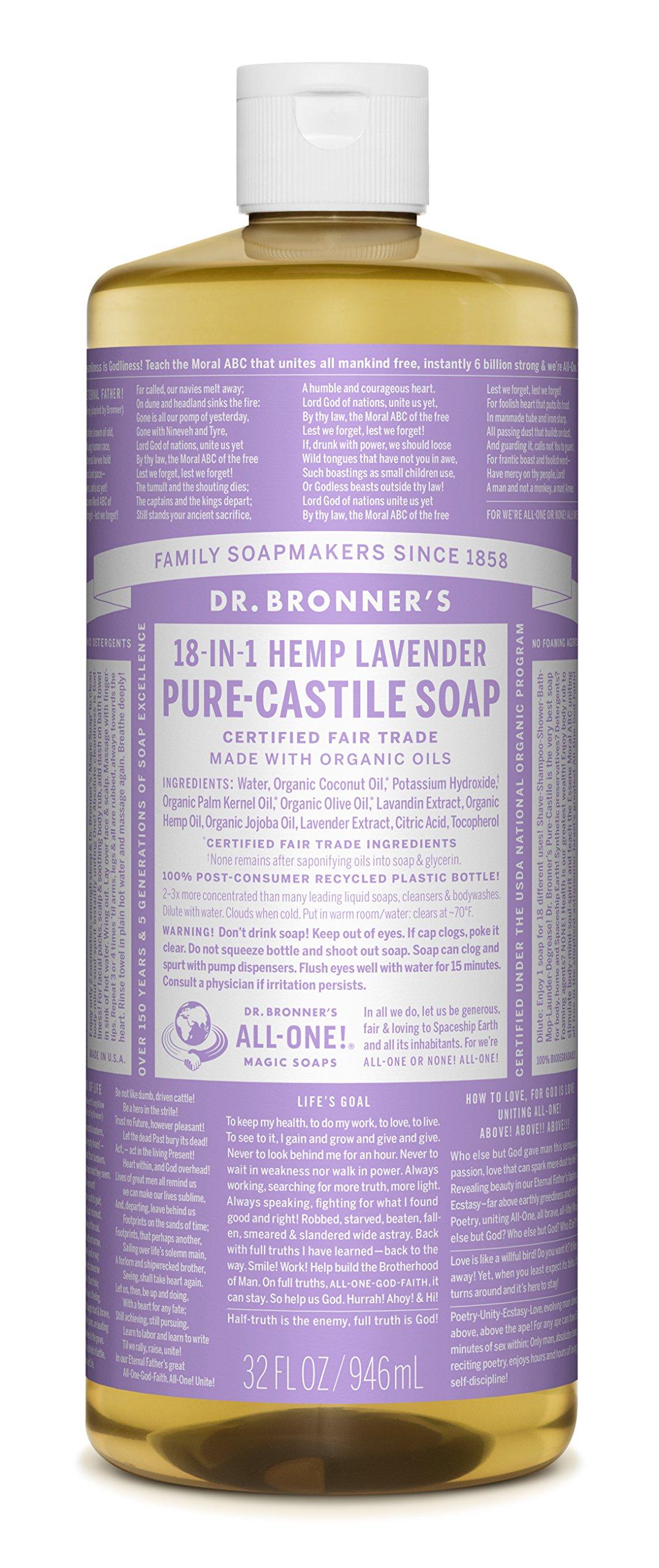 Dr. Bronner's Pure-Castile Liquid Soap - Lavender 32 Fl oz.