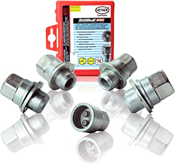 6 Series Heyner Germany Locking Wheel Nuts Set 4 Removal Key Car Security Locks Anti-theft 074//5 M12x1.5