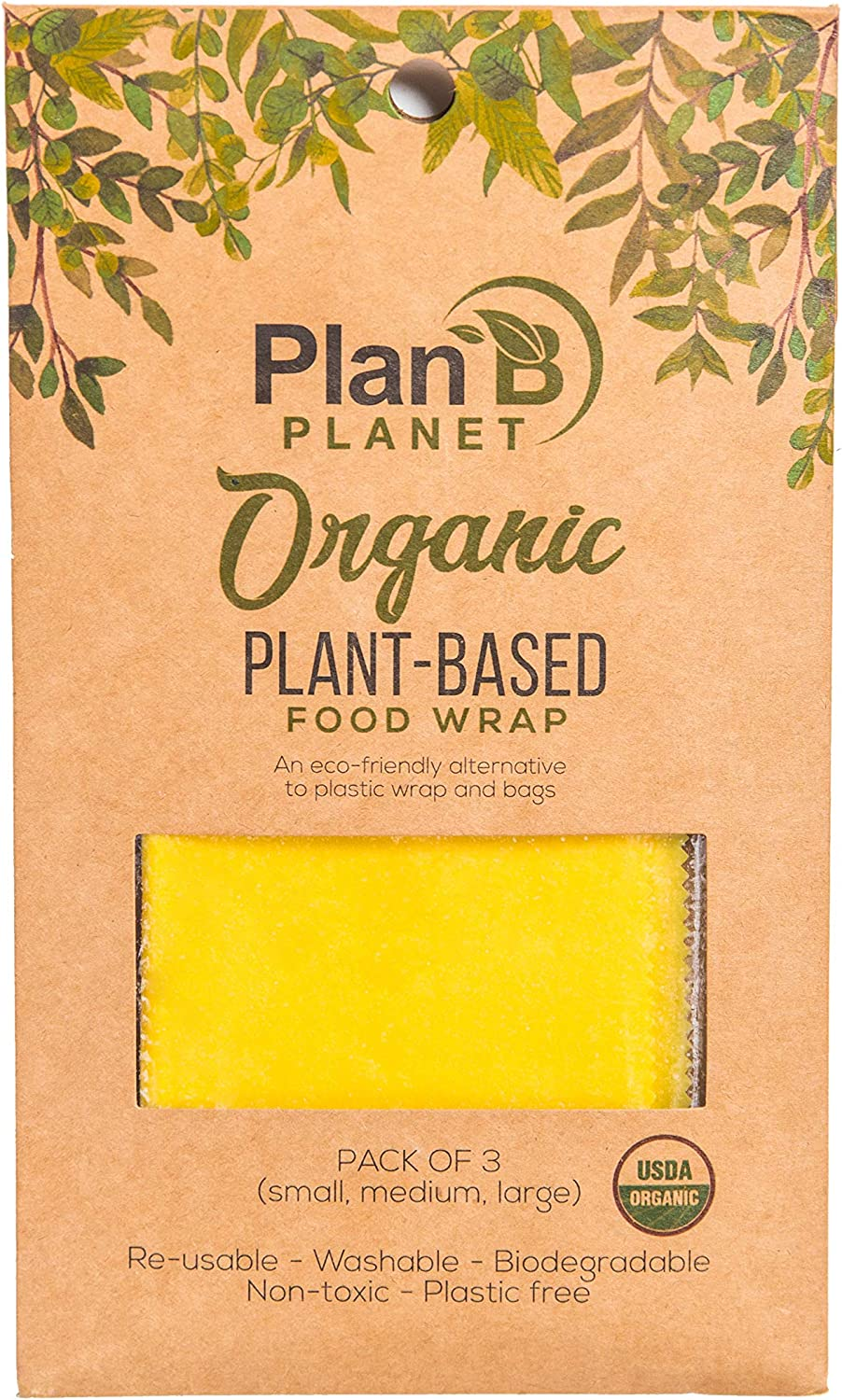 Organic Reusable Plant Based Food Wraps by Plan B Planet, No Beeswax - Biodegradable, Vegan, Non-Toxic, Eco Friendly Plastic Free Food Storage- Assorted 3 pack (1 Small, 1 Medium, 1 Large Wrappers)