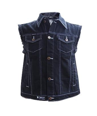 Jeans Weste schwarz mit ausgefransten Armen Gr. S