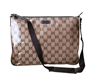 df6121bd2 Amazon.com | Gucci Men's Laptop Sling Messenger Bag 278301 (Brown ...