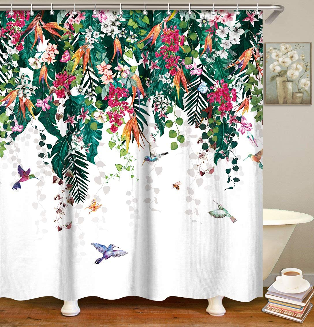LIVILAN Summer Floral Shower Curtain Green Plant Shower Curtain with 12 Hooks, Leaf Flower Bird Spring Botanical Tropical Decorative Fabric Bath Curtain, Machine Washable
