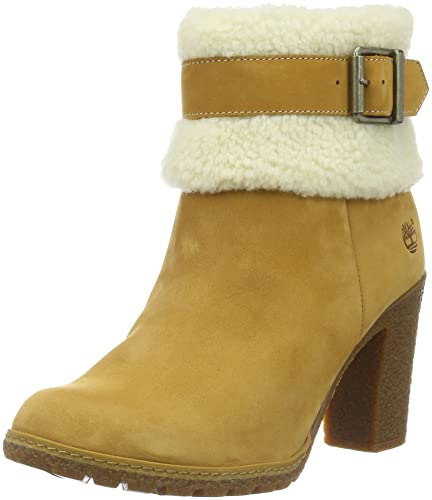 Timberland Women's Glancy Teddy Fold Down Ankle Boots, Brown (Wheat), 4 UK