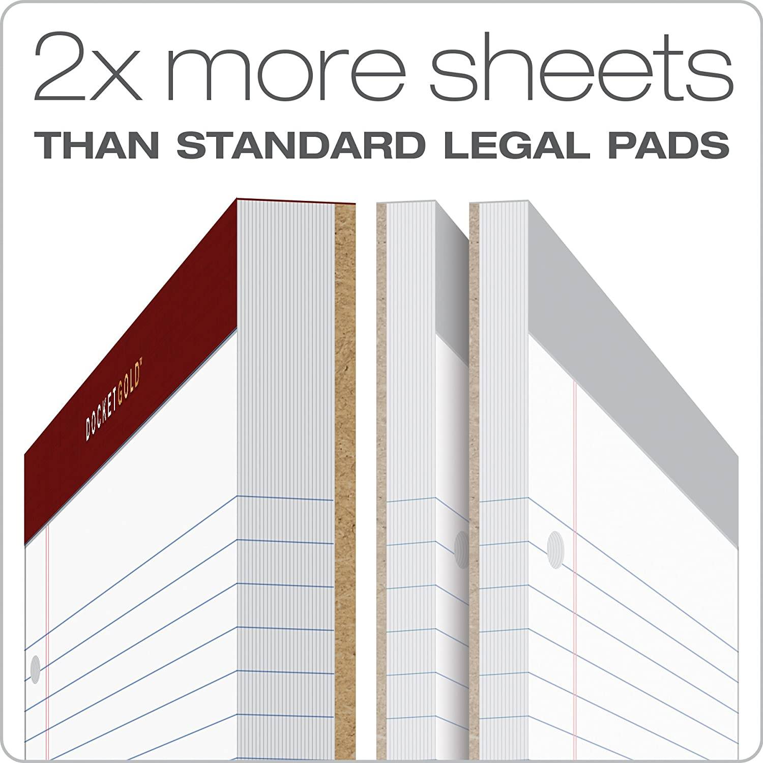 2 Pack 100 Sheets TOPS Docket Gold Writing Pads White Paper 8-1//2 x 11-3//4 Narrow Rule 3-Hole Punched 99706