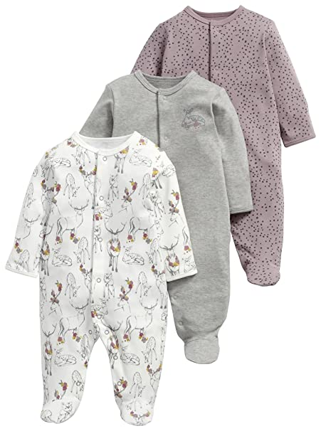 Mamas & Papas and 3 Pack Deer All In One, Pelele para Bebés, Gris