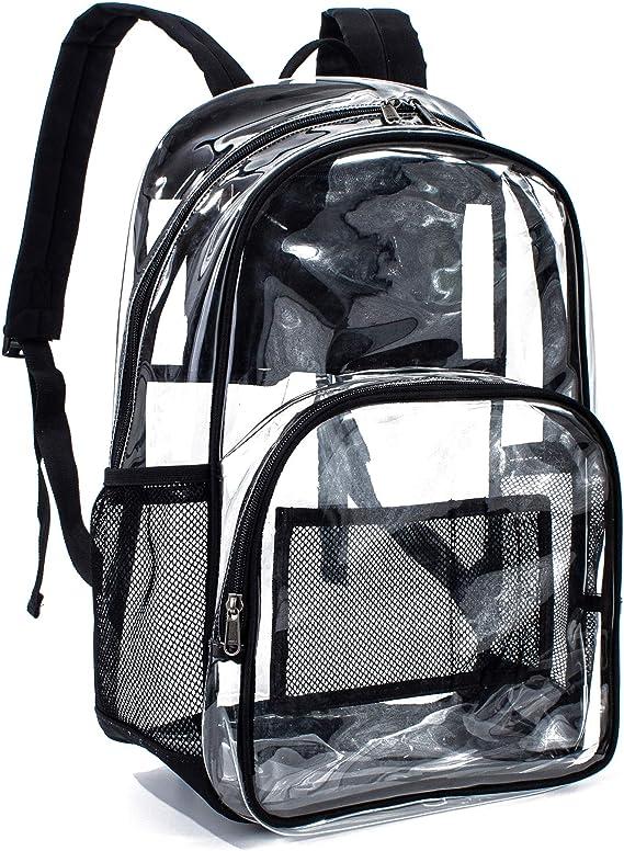 "16/"" 17/"" Travel Unisex Transparent School Security Clear Backpack Book Bag Black"