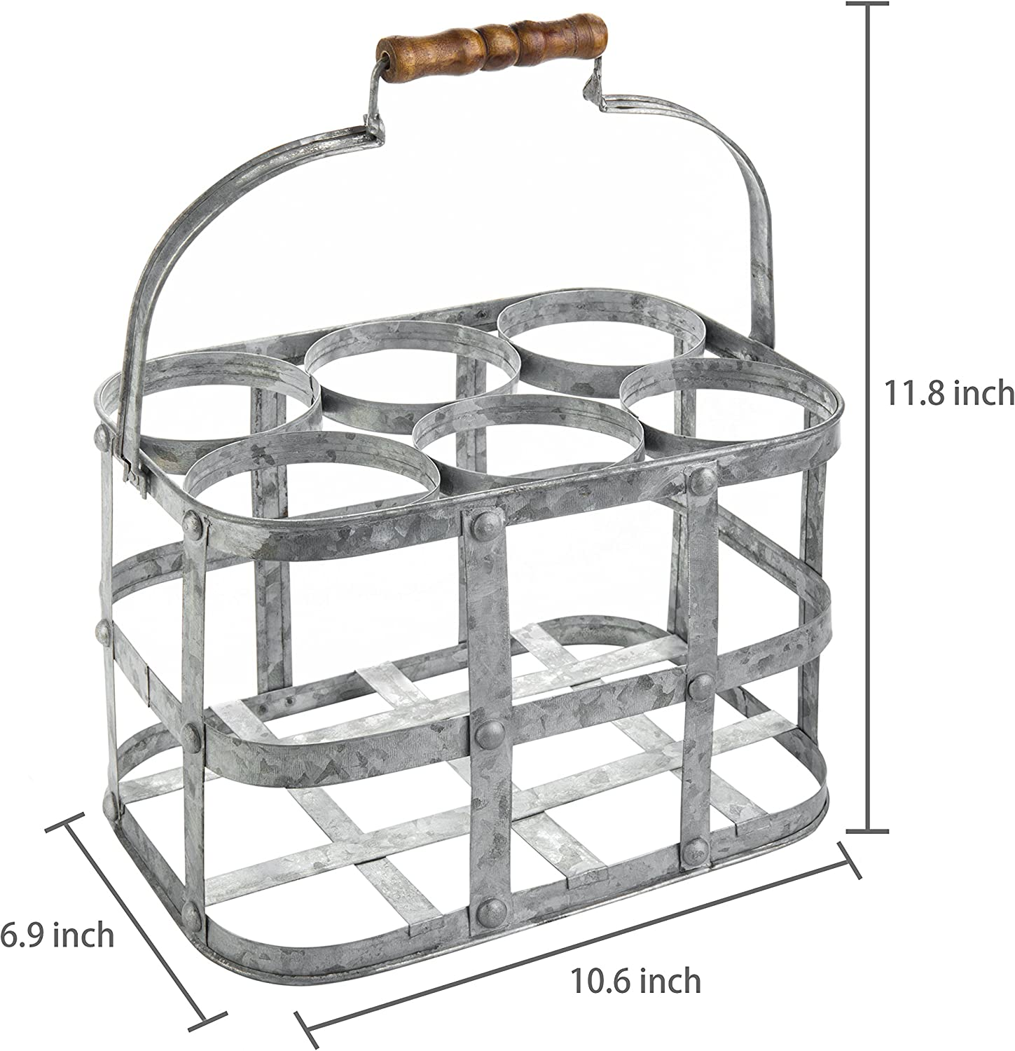 MyGift Farmhouse Style 6-Bottle Zinc Metal Wine Bottle Carrier Caddy with Wooden Handle