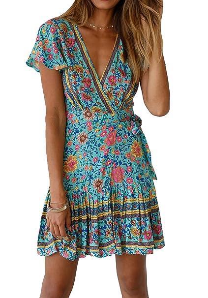 22ae4ab931 SALENT Women Summer Boho Floral Printed Dress V Neck Loose Mini Short Dress  (S