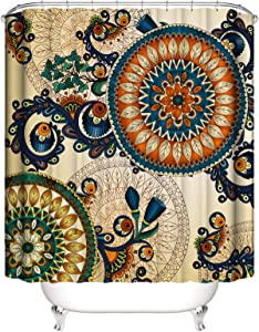 PHNAM Mandala Shower Curtain with Hooks 72x72 Inches Big Circle Paisley Pattern Floral Waterproof Decoration Polyester Cloth Bath Curtains Sets for Bathroom, Bathtub