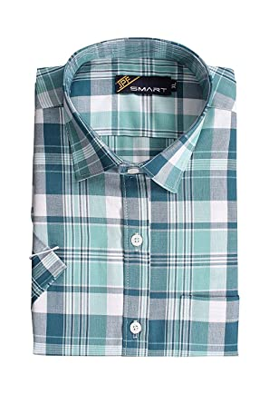 f1fbfd2fc JPF Smart Mens Cotton Regular Fit Formal Half Sleeve Shirt with Pocket  Colorful Summer Casual Clothing (Green): Amazon.in: Clothing & Accessories