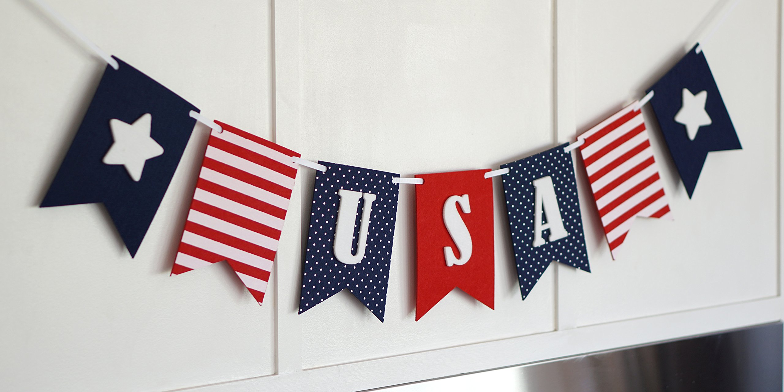 USA Banner Bunting Laser Cut Felt 40 inches wide - Patriotic Americana Red, White, & Blue America! by Decomod (Image #5)