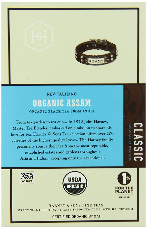 B002YW5HHS Harney & Sons Black Tea, Organic Assam, 1.7 oz, 20 Sachets (Pack of 6) 916qx2BmfERL._SL1500_